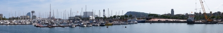 Panoramic view of Barcelona seaport, Spain photo