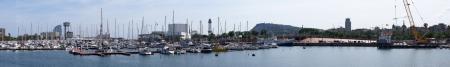 Panoramic view of Barcelona seaport, Spain