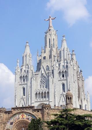 tibidabo: Church on Tibidabo mountain, Barcelona Stock Photo