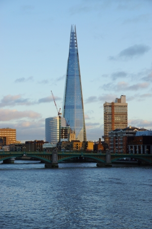 View of London with 309 6 metres high skyscraper Shard from river Thames Stock Photo