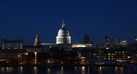 st  paul   s cathedral: View of St Paul s cathedral and Thames River at night with backlight, London, UK