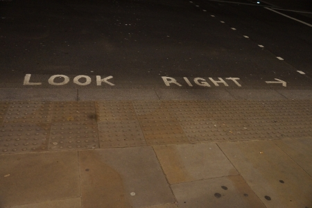 London crossing with look right sign photo