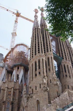 uncompleted: Sagrada Familia, Gaudi s most famous and uncompleted church in Barcelona, Spain