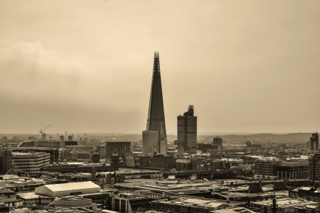 shard: View of London from a high point in sepia style, UK