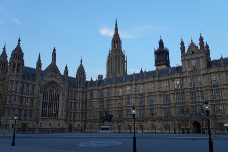 View on the Houses of Parliament at evening in London, which are also known as the Palace of Westminster  Stock Photo
