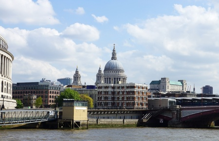 st paul s cathedral: City of London and St  Paul s Cathedral view from Thames River, UK Stock Photo