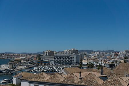 Aerial view to the center of town Faro capital of the Algarve region, Portugal photo