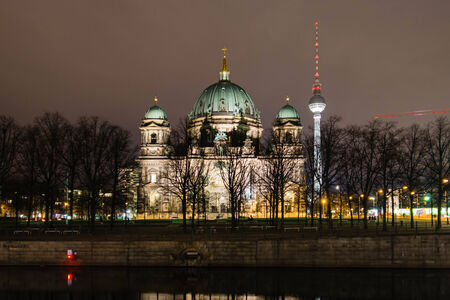 Berliner Dom Cathedral at night, Berlin, Germany  photo