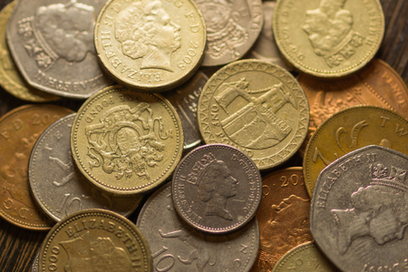 pence: British pound sterling coins