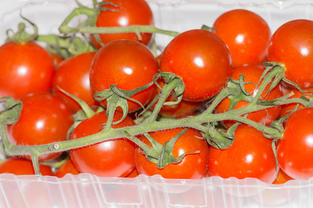 Cherry tomatoes in the plastic container isolated on a white background photo