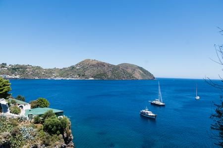 eolie: Boats on the Blue Sea, Lipari, Messina, Sicily, italy