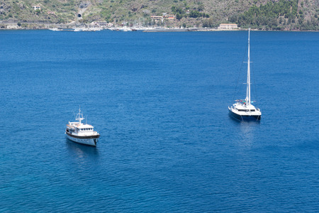 lipari: Boats on the Blue Sea, Lipari, Messina, Sicily, italy