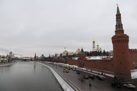 The Kremlin embankment in Moscow. Moscow Kremlin and embankment of the Moscow river.