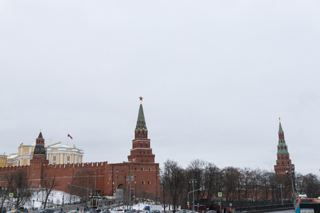 Walls and towers of Moscow Kremlin, Russia