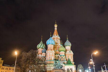 St. Basils cathedral and monument to Minin and Pozharsky on Red Square in Moscow, Russia