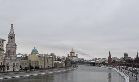View at the Moscow center with the Kremlin wall, Moskva river and the Cathedral of Christ the Saviour, Russia Stock Photo