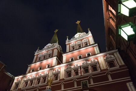 Iverskiye gates (Iverskaya chapel) - entrance to Red square at night in Moscow. Stock Photo