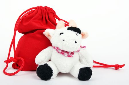 Cow And Bag With Gifts photo