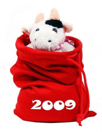 Cow In SantaS Bag 2009 photo