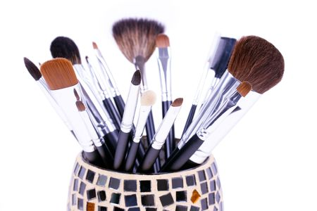 Professional make-up brushes in mirror can  Stock Photo - 5850434