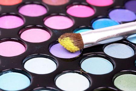 Cosmetic brush on eyeshadows photo
