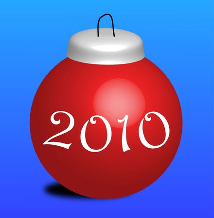 christmasball: Illustration of red new year ball on blue background Stock Photo
