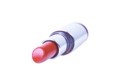 pomatum: Red lipstick isolated on white