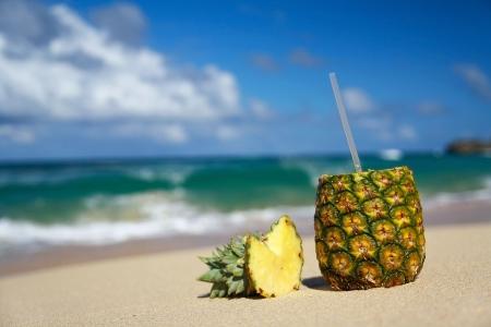 colada: Pina colada on beach of ocean Stock Photo