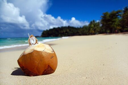 Coconut with pipe on beach Stock Photo