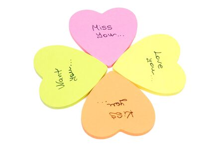 miss you: Flower from color paper hearts