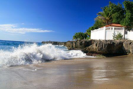 Terrace on caribbean beach photo