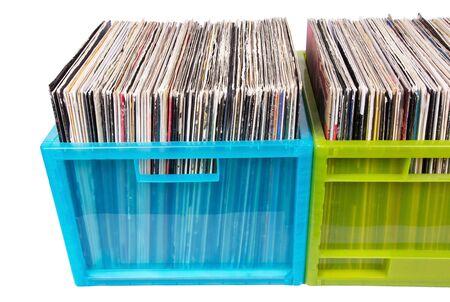 Registros antiguos de dj en cajas de plástico, cerrado-up en estudio  Foto de archivo - 7374063