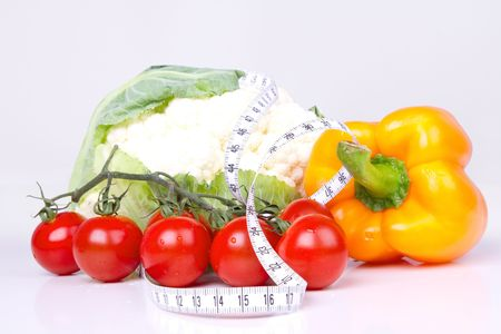 Vegetables rounded  measuring tape, closed-up Stock Photo - 7414437