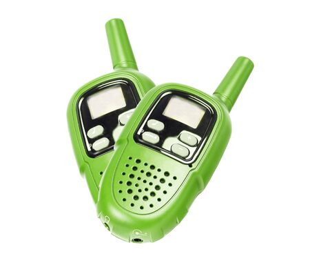 Two green walkie-talkie, isolated on white  photo