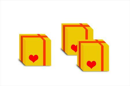 three gift boxes: Ilustraci�n de tres cajas de regalos con coraz�n aislados en blanco