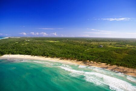Caribbean beach from helicopter view photo
