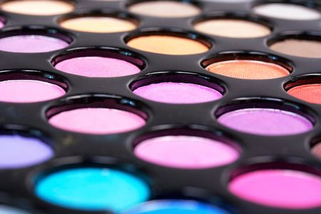Closed-up proffesional eyeshadows,make-up photo
