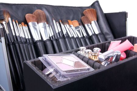 backstage: Professional make-up case full of make-up tools, closed-up