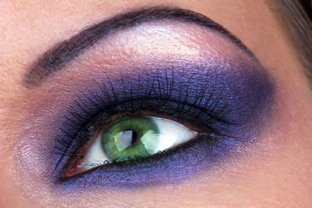 Smoky  make-up of female eye, macro shot