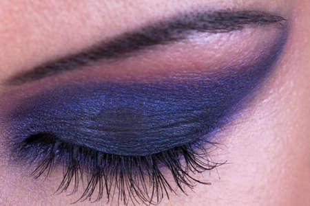 Beautiful fashion make-up of female eye, closed eye photo
