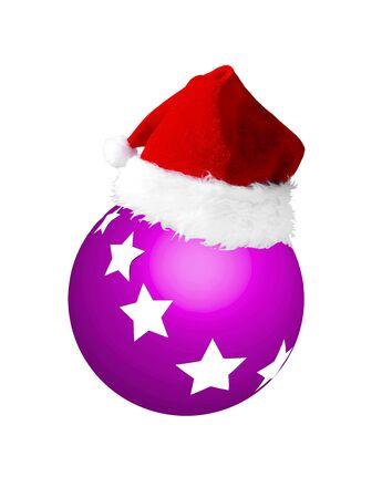 christmasball: Santa hat on yellow new year ball with stars Stock Photo