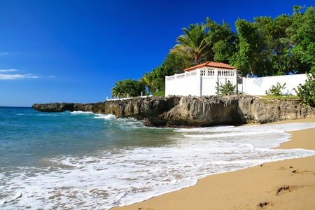 Terrace on ocean coastline, Dominican Republic  photo