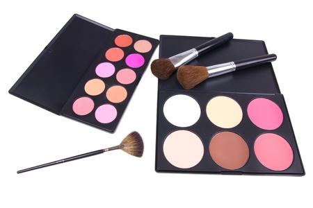 Professional make-up brushes on eyeshadows palettes, closed-up Stock Photo - 8701513