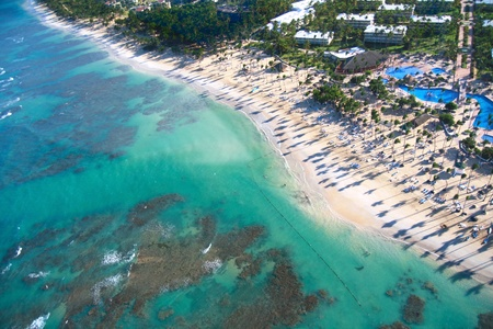 Caribbean beach from helicopter view, resort  photo