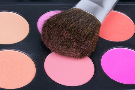 Professional make-up brush on eyeshadows palette, closeup Stock Photo - 8701797