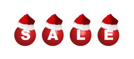 christmasball: Christmas balls with sign sale and Santas hat, illustration