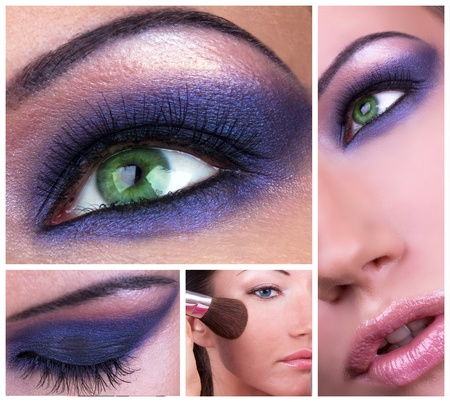 falso: Collage con humo de maquillaje de ojos Foto de archivo