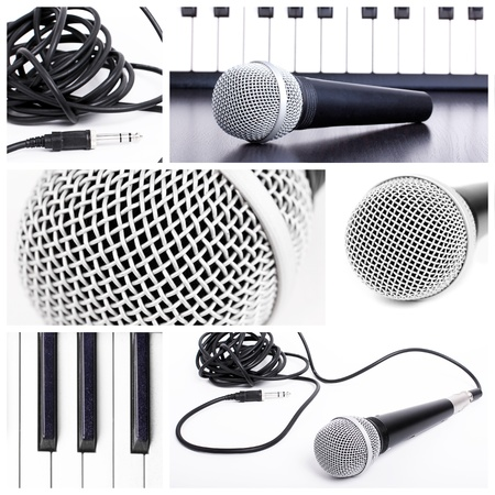 Microphone collage. Closedup microphone  parts Stock Photo - 8861420