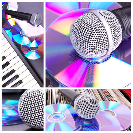 Microphone collage. Microphone and piano parts photo