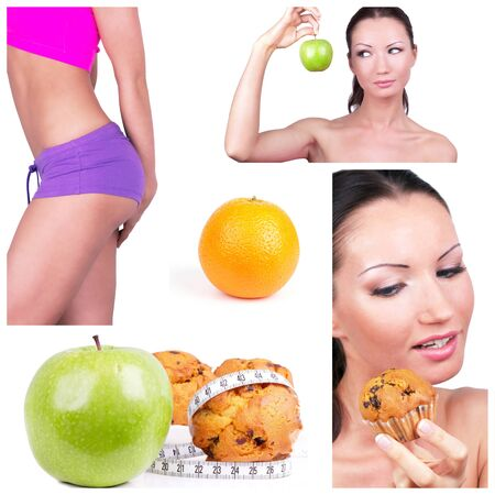 Diet choice collage. Healthy lifestyle concept photo